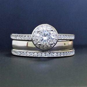 Jewelry - 925 Sterling Silver Halo CZ Ring Wedding Band Set